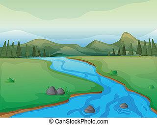un, río, un, bosque, y, montañas