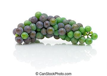 un, ramo, joven, uvas, blanco, plano de fondo