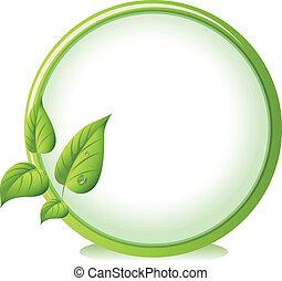 un, redondo, frontera, con, cuatro, hojas verdes