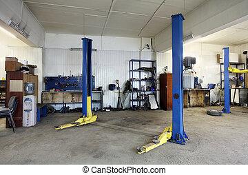 un, reparación coche, garaje