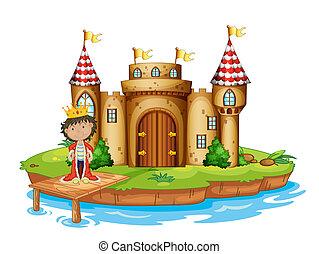 un, rey, cerca, el castillo