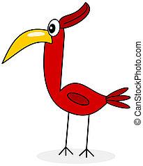 un, rojo, pájaro tropical