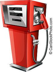 un, rojo, surtidor de gasolina