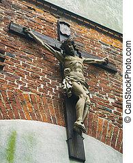 un, símbolo, de, religion., jesús, era, crucificado, en, el, cruz