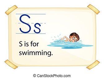 un, s de carta, para, natación