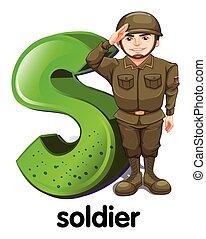 un, s de carta, para, soldado