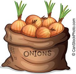 un, saco, de, cebolla