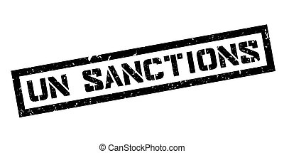 UN Sanctions rubber stamp on white. Print, impress, ...