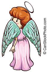 un, simple, bosquejo, de, un, ángel