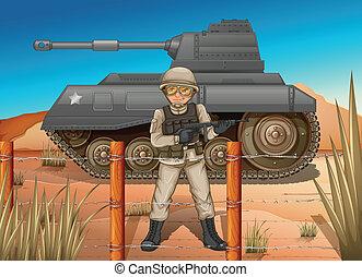 un, soldado, delante de, el, tanque