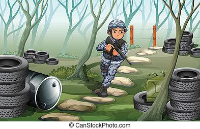 un, soldado, en, el, bosque