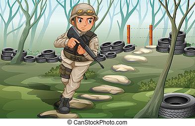 un, soldado, en, el, campo de batalla