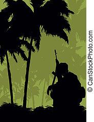 un, soldado, en, un, misión, en, el, jungle.