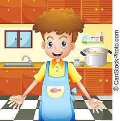 un, sonriente, chef, en la cocina