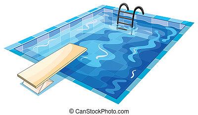 un, swiming, piscina