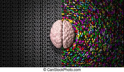 un, típico, cerebro, con, el, izquierda, lado, retratar, un,...