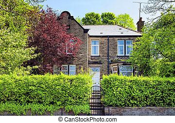 un, típico, inglés, casa, con, un, jardín