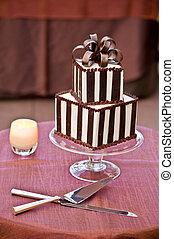 un, torta de la boda, con, cuchillo