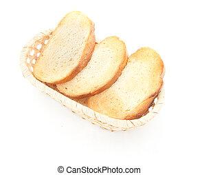 un, tostado, bread, rebanadas, para, desayuno, aislado