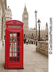un, tradicional, teléfono rojo, cabina, en, londres, con, el, big ben, en, un, sepia, plano de fondo