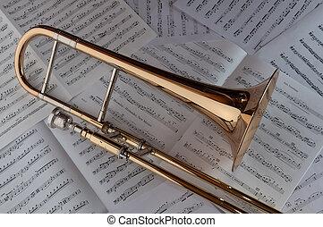 un, trombón, reclinación encendido, un, plano de fondo, de, música