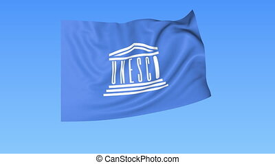 UN UNESCO flapping flag. Seamless looping, 4K ProRes with...