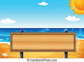 un, vacío, de madera, signage, en la playa