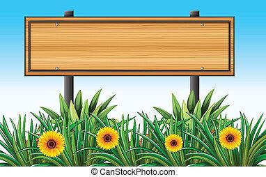 un, vacío, de madera, signboard, en, el, jardín