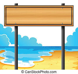 un, vacío, de madera, signboard, en la playa