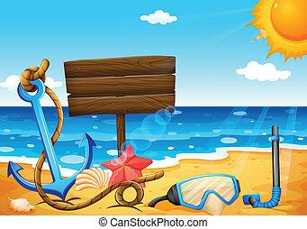 un, vacío, signage, en la playa, con, un, ancla
