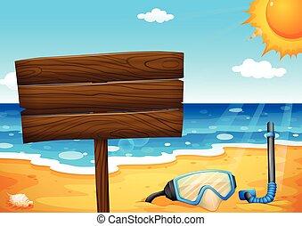 un, vacío, signboard, en la playa