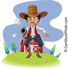 un, vaquero, con, un, arma de fuego
