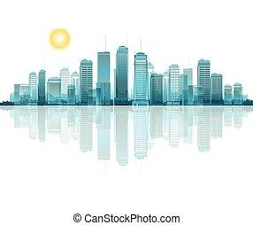 un, vector, cityscape, con, reflexión