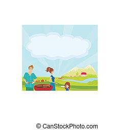 un, vector, ilustración, de, un, familia , tener un picnic, en, un, parque