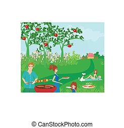 un, vector, ilustración, de, un, familia , tener un picnic