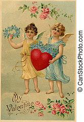 un, vendimia, valentine, postal, con, dos, ángeles, tenencia, un, corazón, y, nomeolvides, flores
