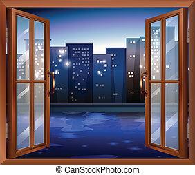 un, ventana, a través de, el, alto, ciudad, edificios