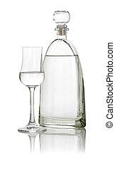 un, vidrio, de, grappa, con, un, botella