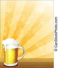 un, vidrio, lleno, de, cerveza fría