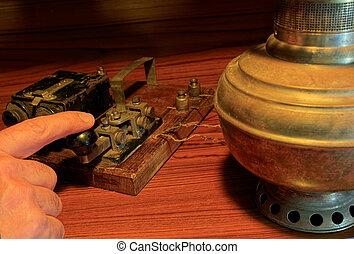 un, viejo, telégrafo, system.