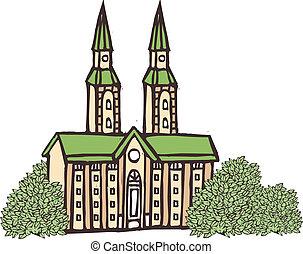 un, vista, de, catedral