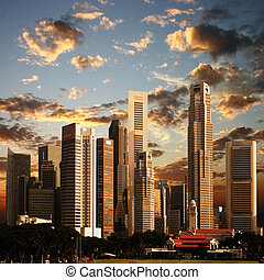 un, vista, de, ciudad de singapur