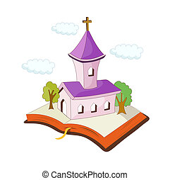 un, vista, de, iglesia
