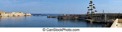 un, vista panorámica, de, el, magnífico, harbour., malta.