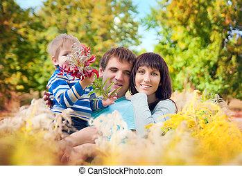 una familia joven, con, un, bebé, en, el, naturaleza, en, el, césped largo