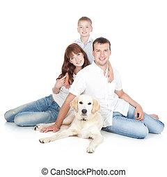 una familia joven, con, un, perro