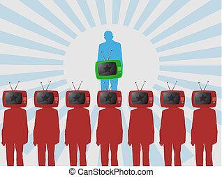 una persona, tv., mirar