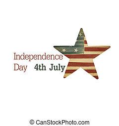 unabhängigkeit, day., zusammensetzung, von, text, und, stern, symbol., raster, abbildung