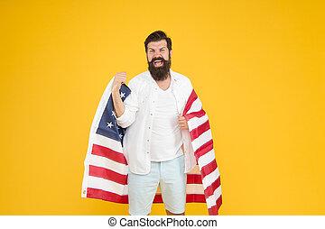 unabhängigkeit, halten, citizenship., juli, 4th., fahne, travel., hüfthose, freiheit, mann, hintergrund., concept., national, amerikanische , usa., kulturell, day., ethnisch, minorities., feiern, erforschen, identity.