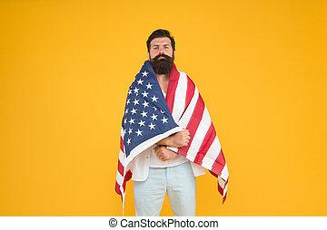 unabhängigkeit, halten, citizenship., juli, 4th., flag., travel., hüfthose, mann, freiheit, hintergrund, concept., national, amerikanische , usa., kulturell, day., ethnisch, feiern, minorities., erforschen, identity.